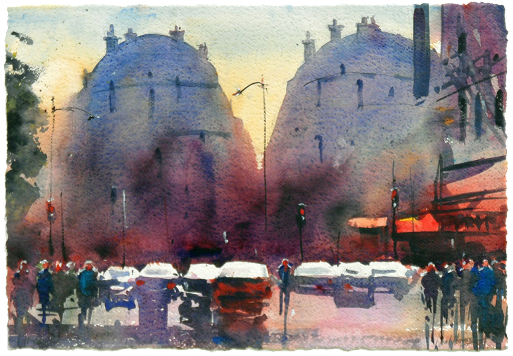 Rush hour, Paris painting by Paul Hoare