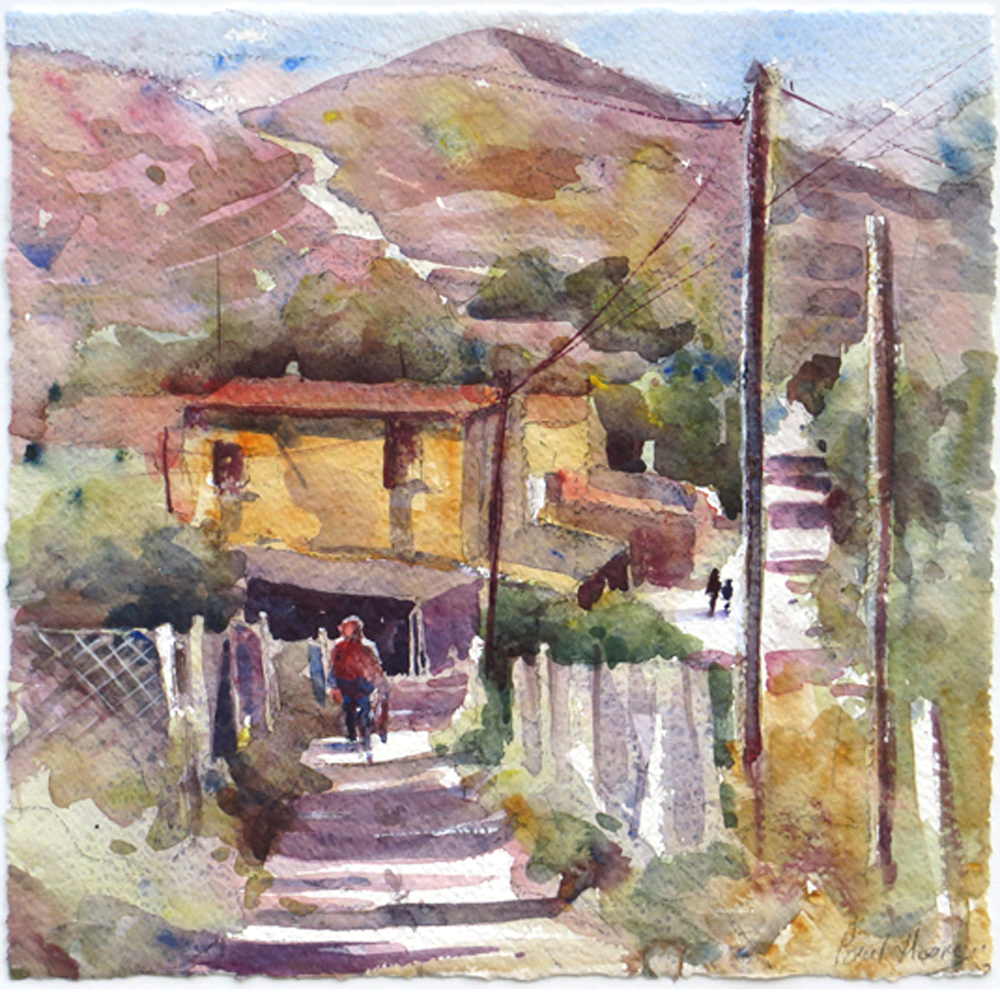 Spanish Shopper coming home painting by Paul Hoare