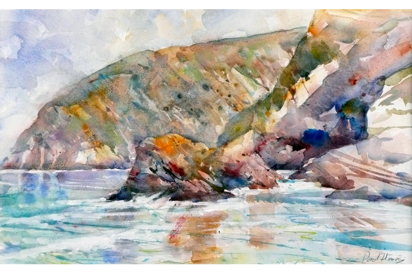 Golden Light, Trevaunance Cove from a painting by paul Hoare