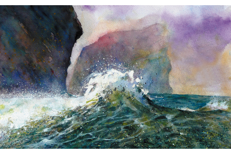 Rising Wave off Bawden Rocks from a painting by Paul Hoare