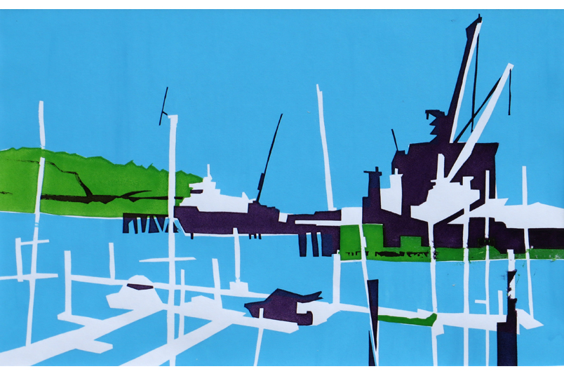 Falmouth Docks from a paining by Paul Hoare