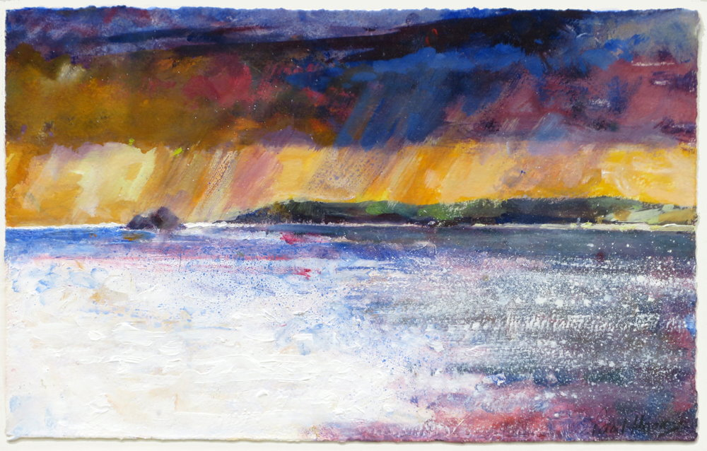 Passing storm over Perranporth painting by paul hoare