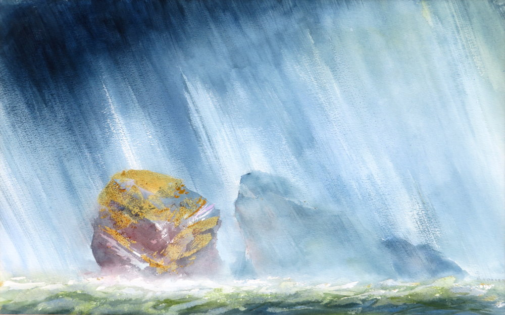 Bowden Rocks off Trevaunance Cove painting by Paul Hoare