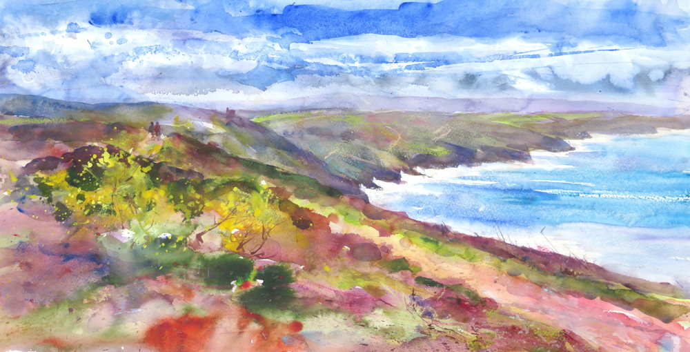 Walking to Chapel Porth painting by Paul Hoare