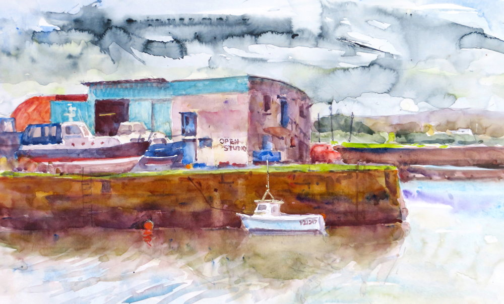 The Old Harbour, Hayle, painting by Paul Hoare