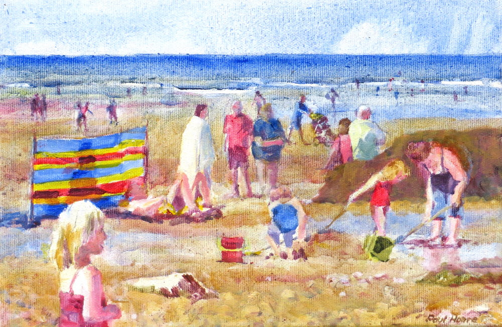 Can I play, Trevaunance Cove, painting by Paul Hoare