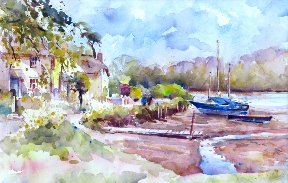 Moored at St Clement painting by paul hoare