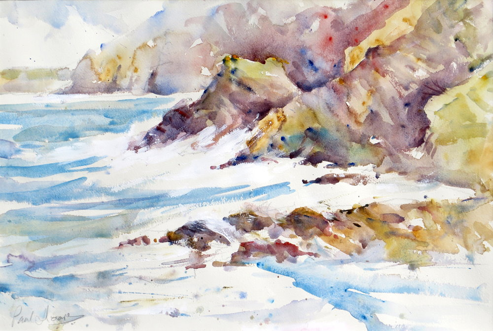 Crashing Waves, Trevaunance Cove painting by Paul Hoare